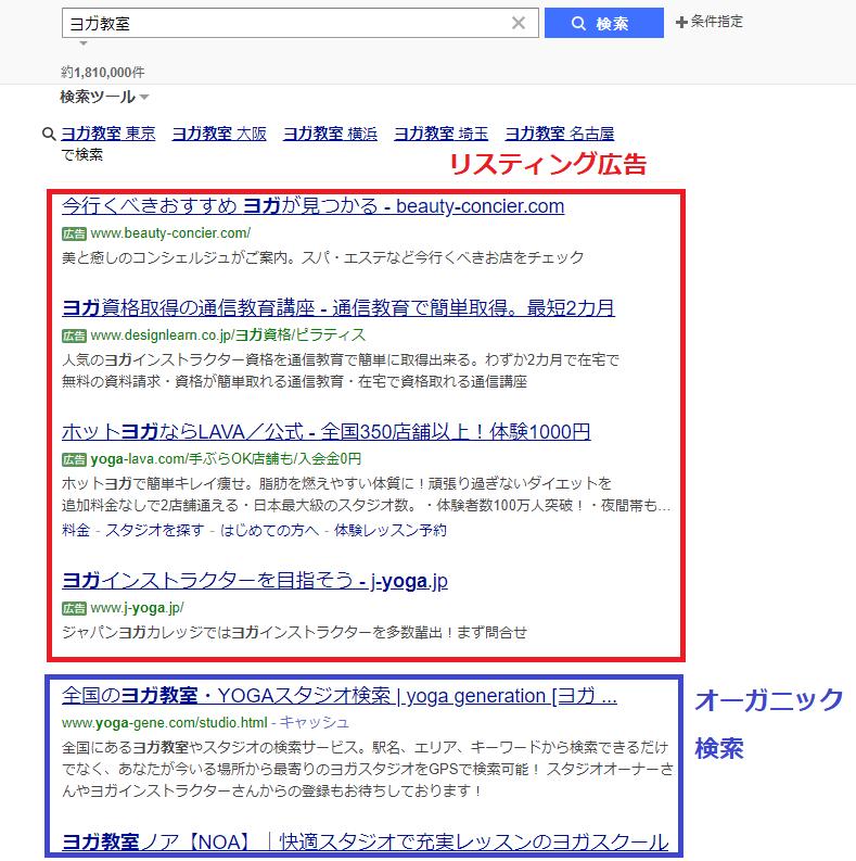 ヨガ教室をYahoo!で検索した結果をリスティング広告とオーガニック検索に分けて解説